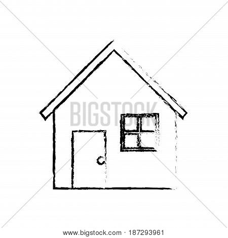 line nice house with door, window and roof, vector illustration