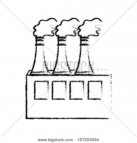 line pollution factory contaminating the environment of planet, vector illustration