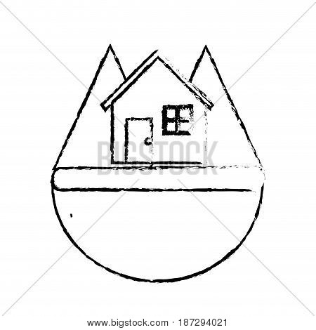 line nice house in the forest witn mountains, vector illustration design