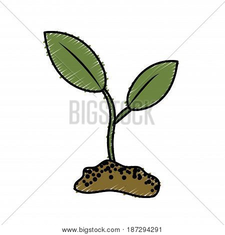 cute ecology plant with earth, vector illustration design