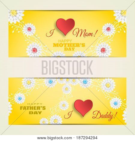 Vector greeting cards set of Happy Mother's Day and Father's Day on the gradient yellow background with curly branches of flowers red paper hearts and text.