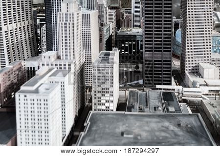 Miniature Chicago Downtown Buildings And Skyscrapers Installation