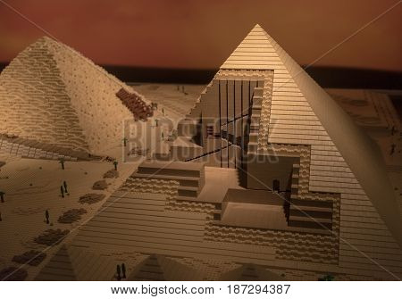 Miniature Egyptian Pyramids Made Of Toy Constructor
