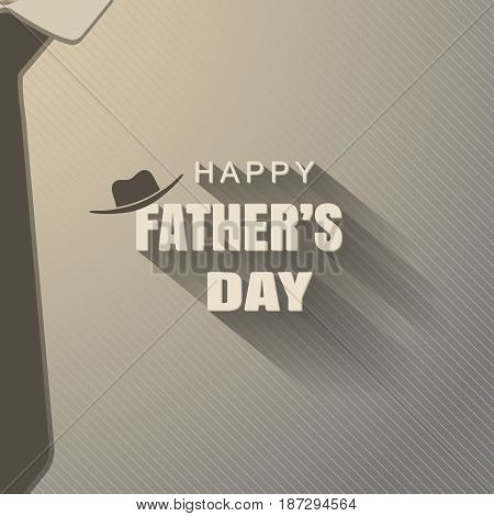 Vector poster of Happy Father's Day with hat silhouette text with long shadow dark brown tie on the gradient background with line pattern.