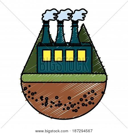 pollution factory contaminating the environment of planet, vector illustration