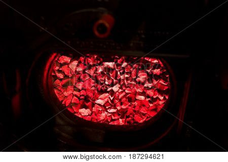 Red Burning Coals In The Metal Oven