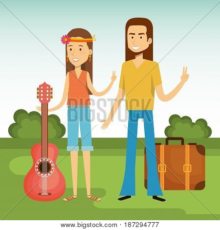 Hippie couple with guitar and suitcase over blue and green background. Vector illustration.