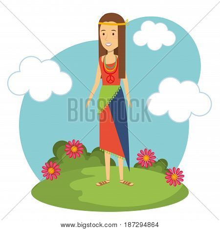 Hippie woman with flowers and blue sky over white background. Vector illustration.