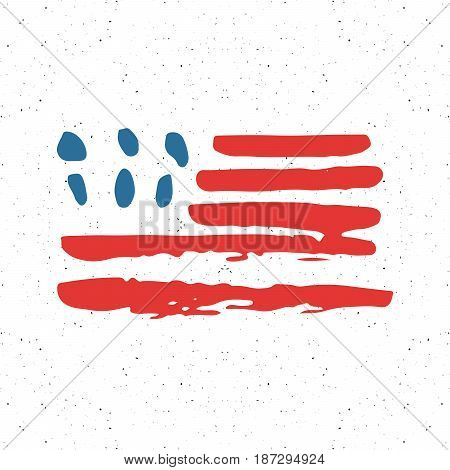 Grunge Hand Drawn Usa Flag, American Abstract Textured Badge, Typography Design Vector Illustration