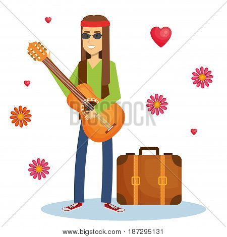 Hippie man playing guitar with flowers and hearts over white background. Vector illustration.