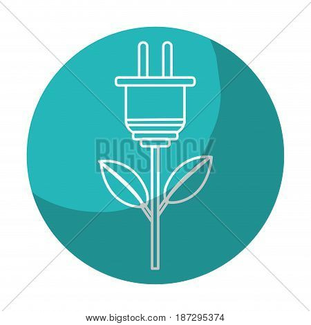sticker power cable plant with leaves, vector illustration design
