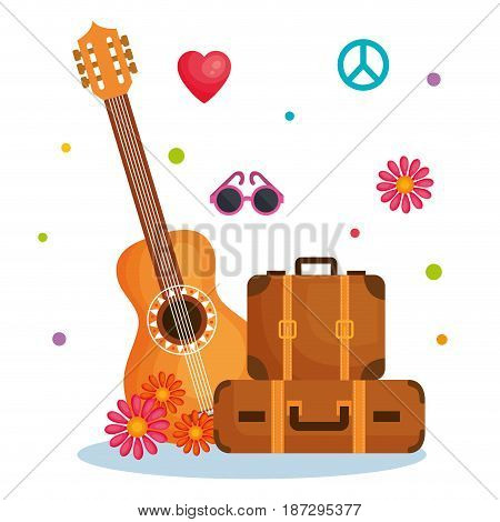 Guitar, suitcases and other hippie objects over white background. Vector illustration.