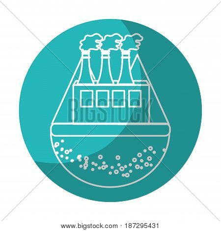 sticker pollution factory contaminating the environment of planet, vector illustration