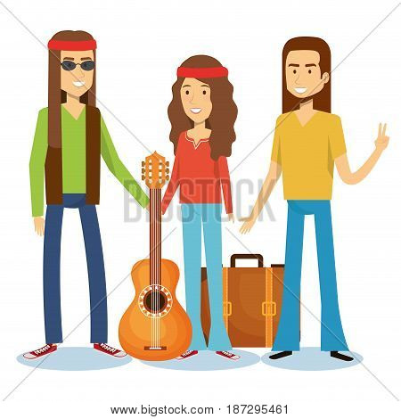 Hippie men with guitar and girl with suitcase over white background. Vector illustration.