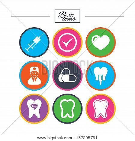 Tooth, dental care icons. Stomatology, syringe and implant signs. Healthy teeth, dentist and pills symbols. Classic simple flat icons. Vector
