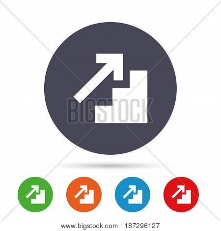 Upstairs icon. Up arrow sign. Round colourful buttons with flat icons. Vector