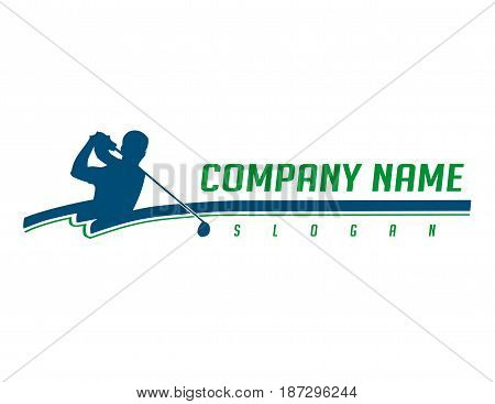 Blue golfer logotype on a white background