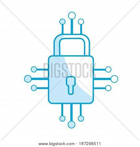 silhouette padlock with circuits to security dgital connection, vector illustration