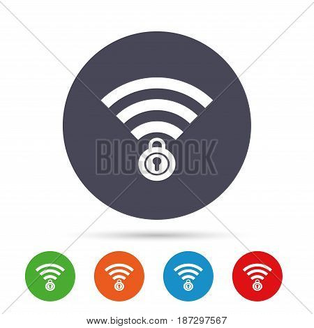 Wifi locked sign. Password Wi-fi symbol. Wireless Network icon. Wifi zone. Round colourful buttons with flat icons. Vector