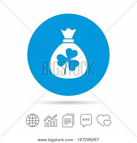 Money bag with three leaves clover sign icon. Saint Patrick trefoil shamrock symbol. Copy files, chat speech bubble and chart web icons. Vector