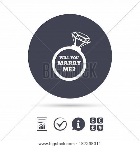 Will you marry me ring sign icon. Engagement symbol. Report document, information and check tick icons. Currency exchange. Vector