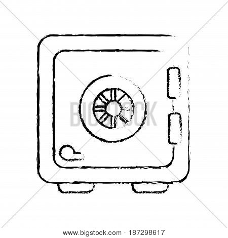 figure strongbox close to security of special thing, vector illustration