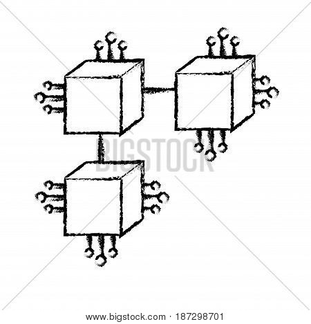 figure squares digital connections with circuits electronic and magnifying glass, vector illustration
