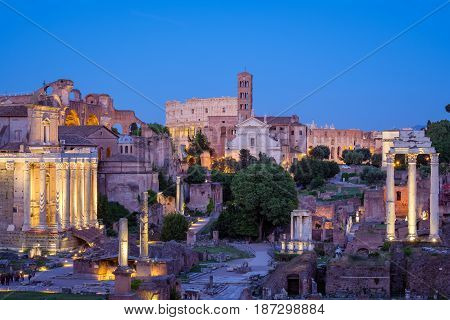 Forum Romanum And Colosseum In Rome After Sunset