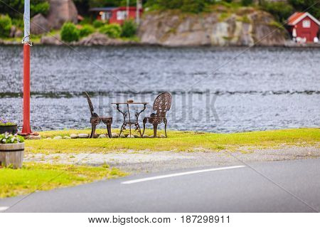 Coffee Table With Two Chairs Outdoor Near Lake