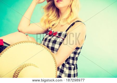 Portrait Of Attractive Blonde Woman In Checked Dress