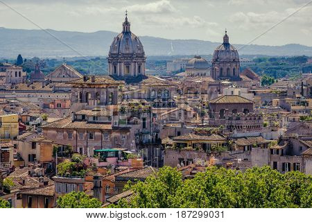 Rome Skyline Cityscape As See From Castle San Angelo