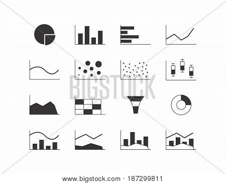 Vector illustration of different chart types. Black icons on white background.
