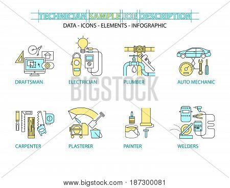 Set of Flat line icon & infographic design concept Technicians engineers