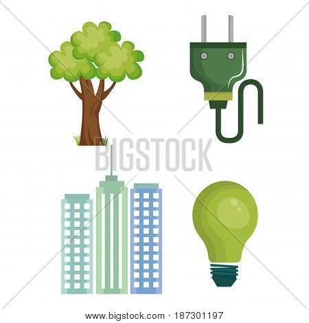 Eco friendly related  objects and city over white background. Vector illustration.