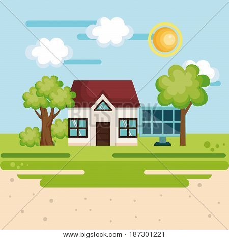 Eco friendly house with solar panel over daytime countryside background. Vector illustration.