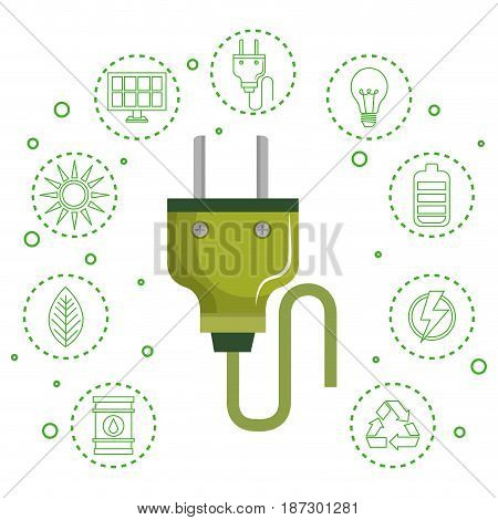 Green power plug with hand drawn eco friendly object stickers over white background. Vector illustration.