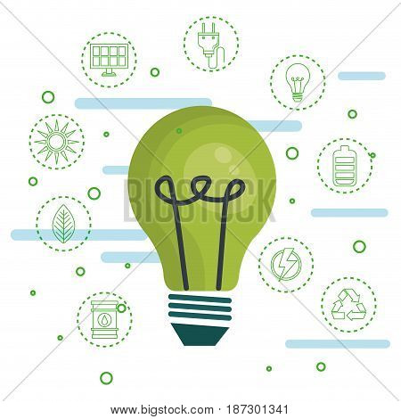 Green light bulb with hand drawn eco friendly object stickers over white background. Vector illustration.
