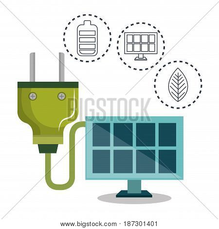 Solar panel and green power plug with hand drawn eco friendly object stickers over white background. Vector illustration.