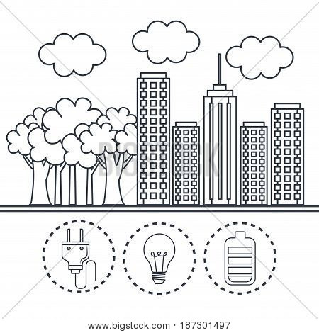 Hand drawn city with trees and eco friendly object stickers over white background. Vector illustration.