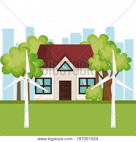 Eco friendly house with wind turbines over white background with city skyline. Vector illustration.