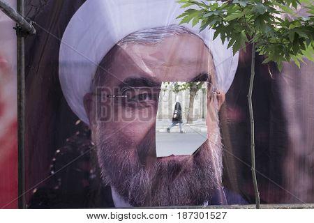 Tehran Province- IRAN-May 18 2017 Iranian 2017 Presidental election Banner on street