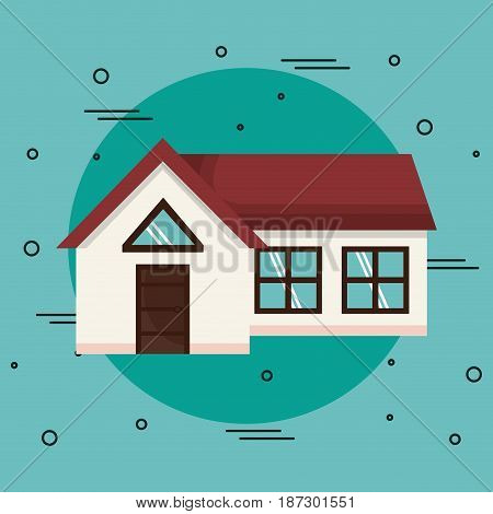 House over teal background. Vector illustration. icon