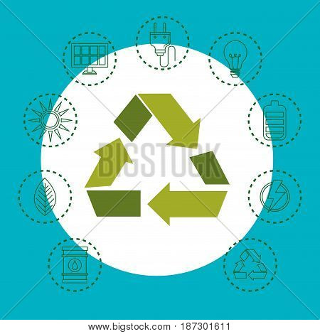 Arrow recycling symbol with hand drawn eco friendly object stickers over teal and white background. Vector illustration.