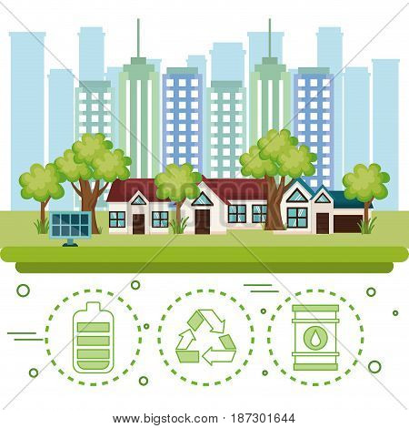 City with solar panel and hand drawn eco friendly object stickers over white background. Vector illustration.