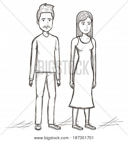 Hand drawn uncolored standing people over white background. Vector illustration.
