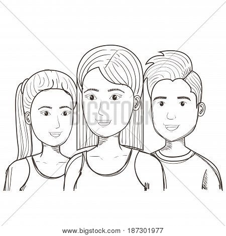 Hand drawn uncolored man and women over white background. Vector illustration.