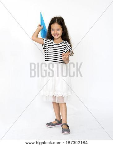 Girl playing paper plane handicraft