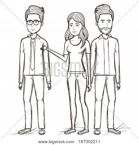 Hand drawn uncolored standing men and woman over white background. Vector illustration.