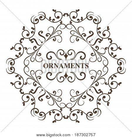 Round ornamental frame and ornament sign over white background. Vector illustration.