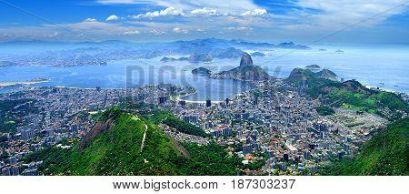 Aerial panoramic of Rio de Janeiro Brazil